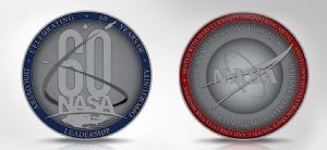 NASA 60 Years Commemorative Medallion with Space Flown Metal